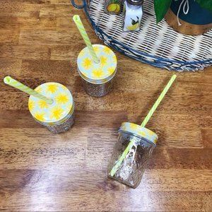Other - 3 Small Yellow Festive Glass Mason Jars with Lids
